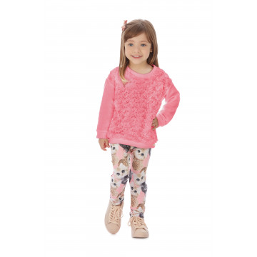 Conjunto Casaco Moletom Pelinhos E Calça Estampada Neopreme Rosa - Up Baby
