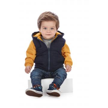 Jaqueta em Microfibra e Moletom Azul e Amarelo - Up Baby