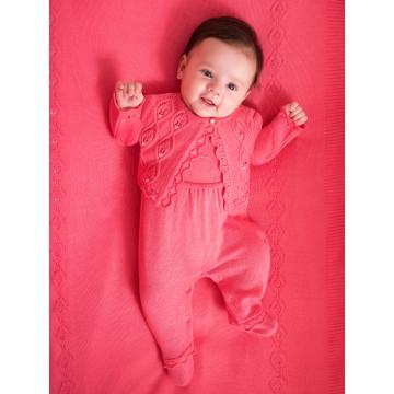 Saída de Maternidade Macacão, Casaco e Manta Bordado Rosa - Noruega Baby