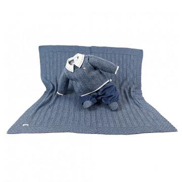 Saída de Maternidade Tricot Arthur Azul Jeans - Beth Bebê
