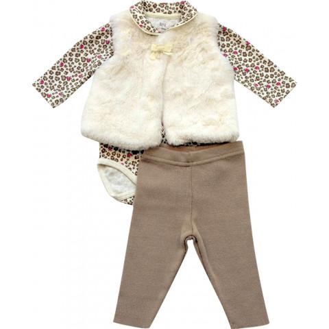 Conjunto Baby Calça, Body e Colete de Pele - Noruega