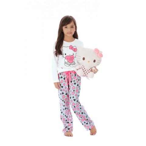 c22e00679 Pijama Blusa e Calça em Malha Hello Kitty Branco - Hello Kitty