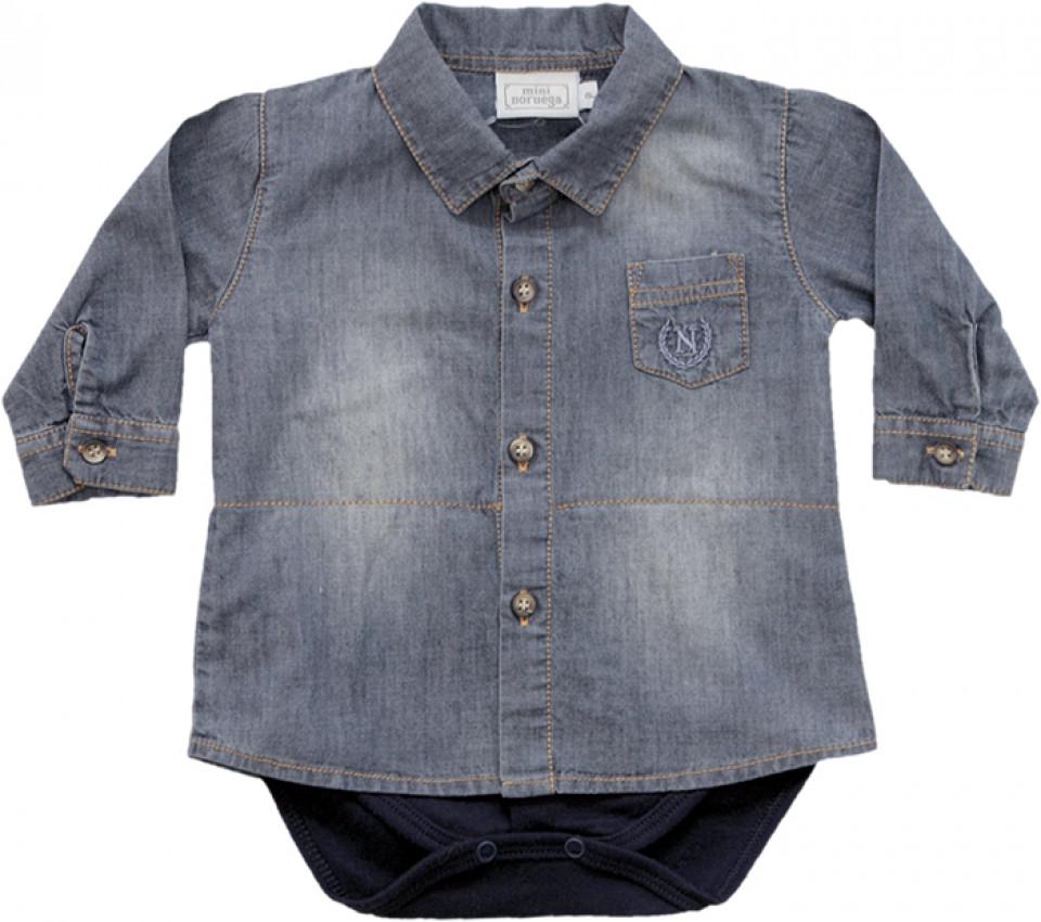 3f03ae177f10e Body com Sobreposição de Camisa Jeans - Noruega