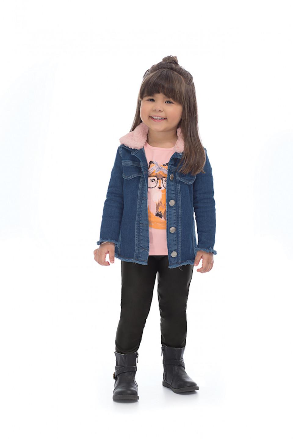 f5f195c9319c4a Jaqueta Jeans com Gola Pelo Removível - Up Baby